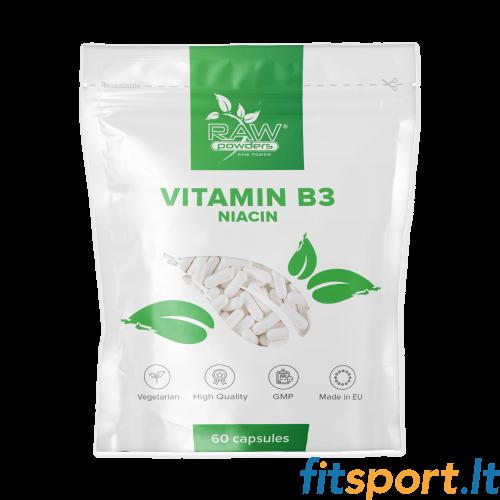 Raw Powders Niacinas (vitaminas B3) 60 kaps.
