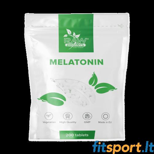 Raw Powders Melatonin 200 tab. (Melatoninas) - 200 porcijų