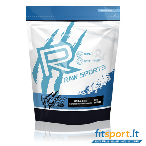 Raw Powders BCAA 8:1:1 200 tab. - 66 porcijos