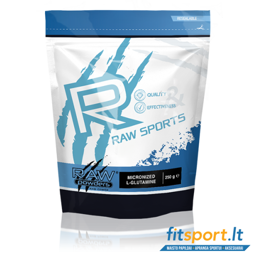 Raw Powders Micronized L-Glutamine 250 g - 50 porcijų