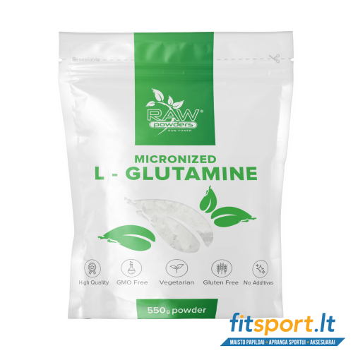 Raw Powders Micronized L-Glutamine 550 g - 110 porcijų