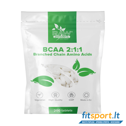 Raw Powders BCAA 2:1:1 200 tab - 66 porcijos