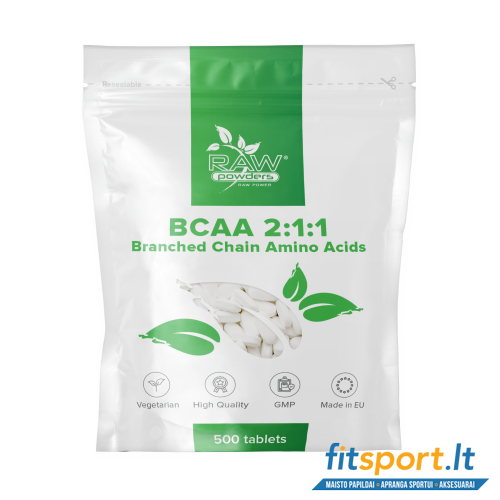 Raw Powders BCAA 2:1:1 500 tab. - 166 porcijos